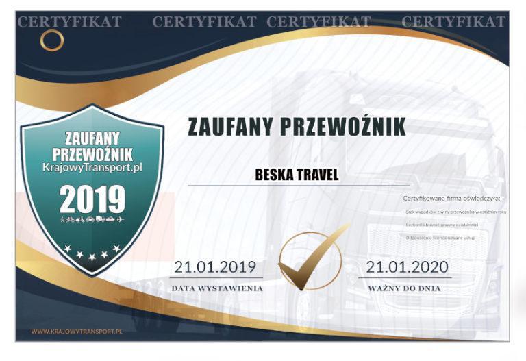 Zaufany przewoźnik 2019 - certyfikat dla firmy Beska-Travel